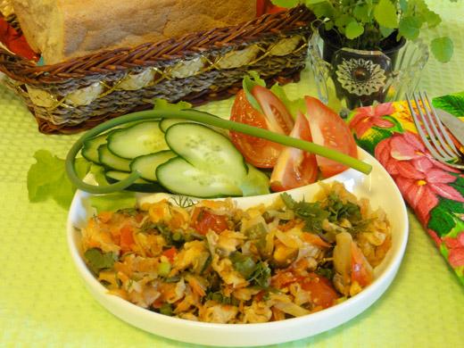 Рецепт тушенной капусты с курицей