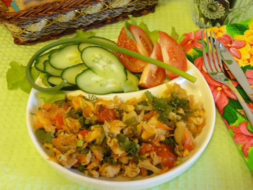 Рецепт с фото тушенной капусты с курицей