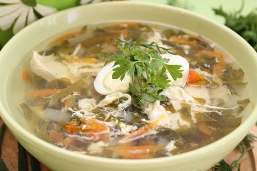 Рецепт супа с щавелем и яйцом