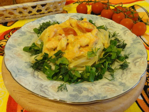 Рецепт пасты с форелью в сливочно-сыром соусе, с фото